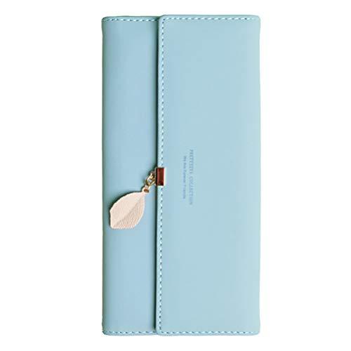 Damen PU Leder Lange Brieftasche mit Blatt Anhänger Kartenhalter Handytasche Mädchen Reißverschluss Geldbörse Gross Capacity - Multi-kupplungs-geldbeutel