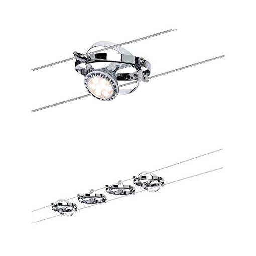 Paulmann 94144 Sistema di illuminazione su cavo cromato a 4 luci, led, metallo, grigio