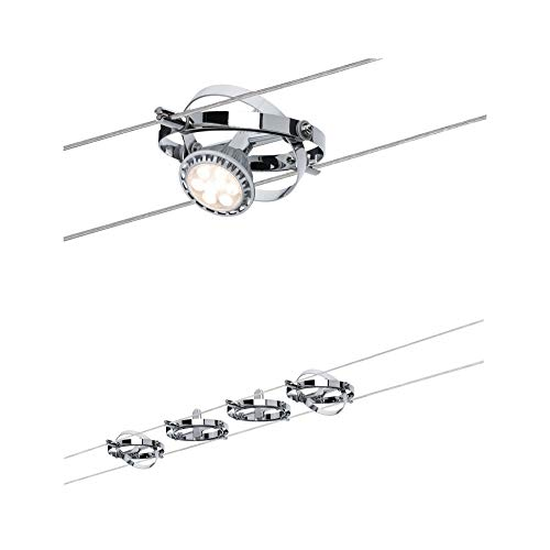 Paulmann 941.44 Seilsystem Cardan Set erweiterbar max4x10W Chrom matt/Chrom 94144 Seilleuchte Hängeleuchte