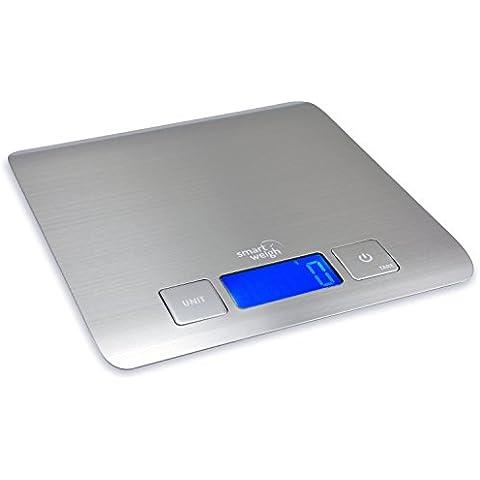 Smart Weigh 11 lb/15 kg Báscula Electrónica Multifuncional para Cocina y Alimentos Plataforma de Acero Inoxidable, Con Gran Pantalla LCD, Color Plata