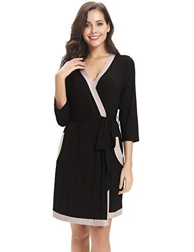 Aibrou Bata Kimono Mujer Algodón Cinturón Pijama