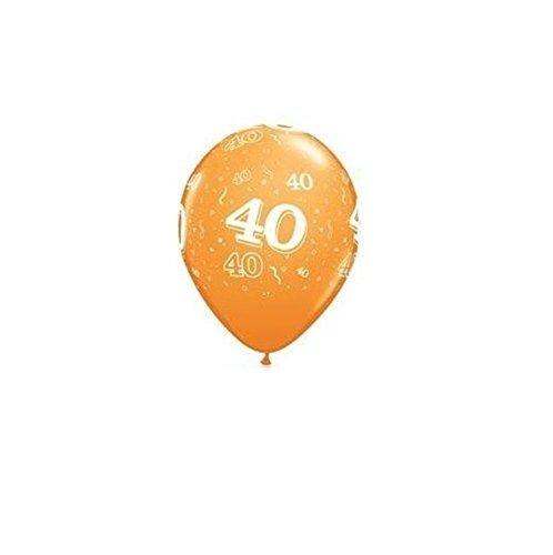 Nana 's Party Versand Schnell zum 40. Geburtstag Party Luftballons 27,9cm {Qualatex} 6Stück (Helium Qualität/Alter 40) Orange (Schokoladenformen Lollipop)