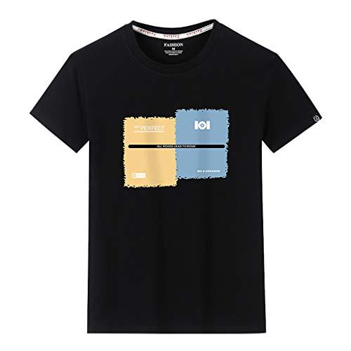 ea391b334a3ae Crazboy Herren Sommer Casual Fashion Drucken Patchwork Oansatz Kurzarm T- Shirt Tops(X-