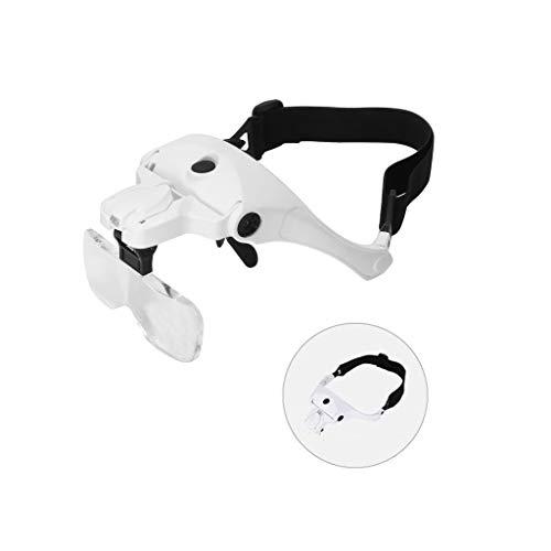 YM09 Praktisch und bequem Led Stirnband Lupe Mit Licht,Abnehmbare Linsen Kopfbandlupe Stirnlupe Brillenlupe Lupen 1x bis 3,5X 5 abnehmbare Linsen Juweliere Reparatur Lupe
