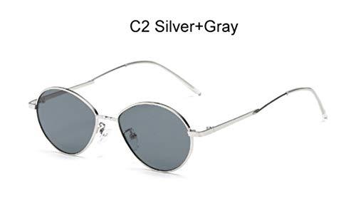 Cranky Orange 2019 Trending Damen Kleine Ovale Sonnenbrille Retro runder Metallrahmen Bonbonfarben Mode Herren Durchsichtig Rot Lens Shades Spiegel, C2 Silbergrau