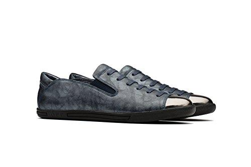 OPP Herren Leder Schuhe Casual Schnürhalbschuhe Schwarz-5
