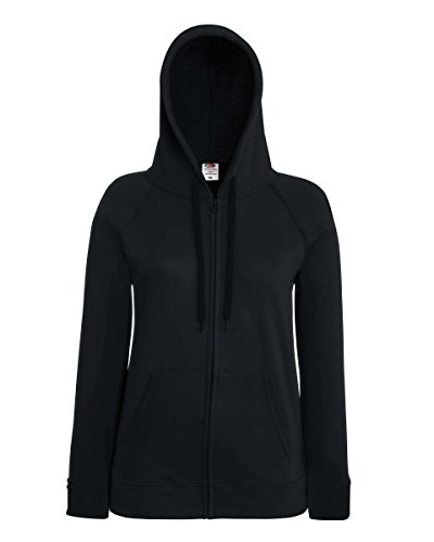 Fruit Of The Loom Lady-Fit Damen Kapuzenjacke / Sweatshirt-Jacke mit Kapuze XS,Schwarz - Schwarz