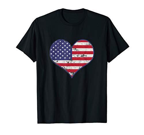 Herz Amerikanische Flagge Vintage Jahrgang American 4. Juli  T-Shirt