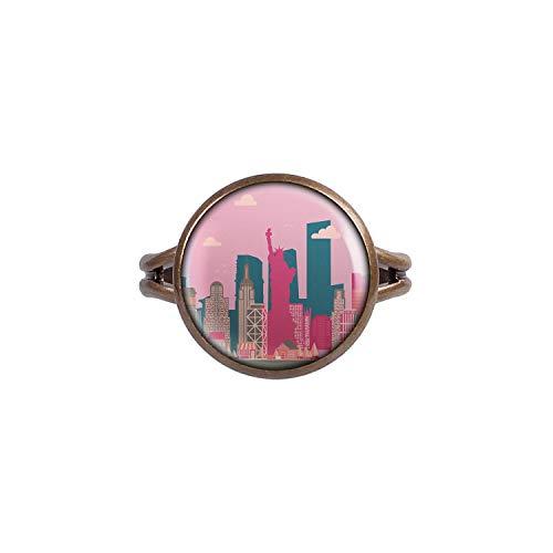 Mylery Ring mit Motiv Skyline New York Big Apple Freiheits-Statue Empire State bronze 14mm