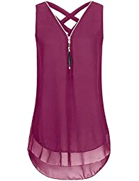 Runyue Donna Cerniera Canotte Top Senza Maniche Bluse Camicia Colletto A V  Chiffon Elegante Casual T- 0756e7814564