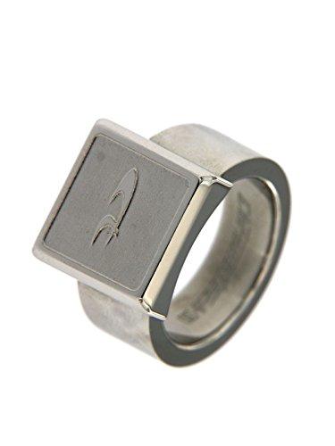 Chronotech anello modello chevalier in acciaio con centrale simbolo misura 10