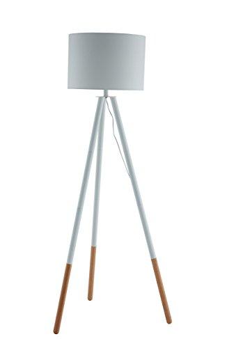 SalesFever Stehlampe, Stehleuchte, Metall- + Holzbeine in weiß-braun, Lampenschirm in Weiß,...