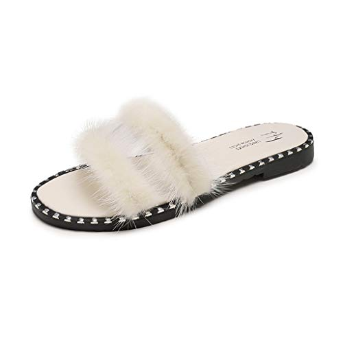 Mitlfuny Damen Sommer Sandalen Bohemian Flach Sandaletten Sommer Strand Schuhe,Damenmode Freizeitschuhe Hausschuhe Sommer Flache Sandalen