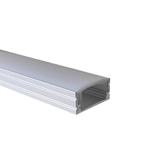 OPAL - 200 cm LED Aluminium Leisten AUFPUTZ-KL + 200 cm weiß milchige Abdeckung für LED-Streifen von Alumino®