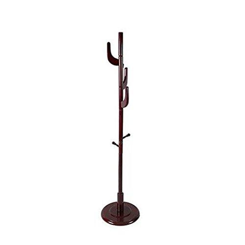 Stehendes Mantel-Und Hut-Gestell, Hölzerner Mantel-Stand-Schienen-Gestell Mit 5 Haken-Jacken-Regenschirm-Handtaschen-Hut-Kleidungs-Speicher-Hängendem Organisator-Halter