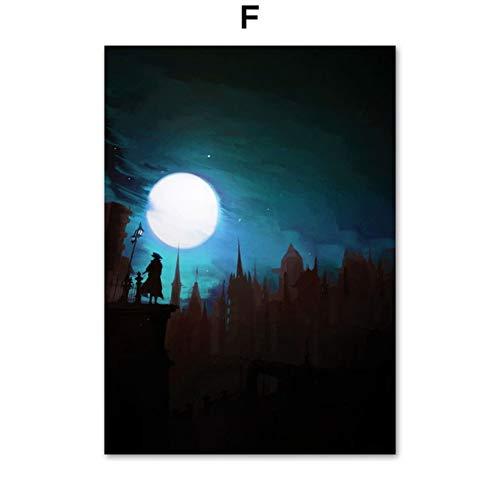 XWArtpic Bloodborne Dark Souls Videospiel Poster Wandkunst Leinwand Malerei Nordic Poster Und Drucke Wandbilder Für Wohnzimmer Decor F 60 * 80 cm