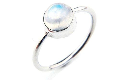 Ring Silber 925 Sterlingsilber Regenbogen Mondstein weiß Stein (MRI 78), Ringgröße:50 mm/Ø 15.9 mm (Antik Trachten Schmuck Ringe)
