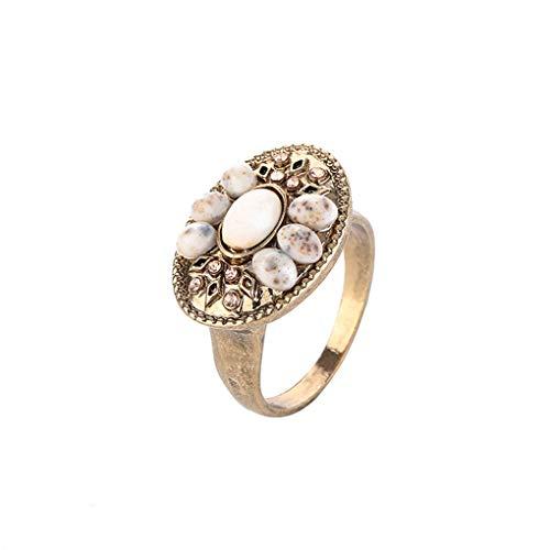 Plzlm Mädchen Retro Geometric Harz-Ring-Frauen Geschnitzte Goldene Metall Strass Ring Schmuck Hand Ornament