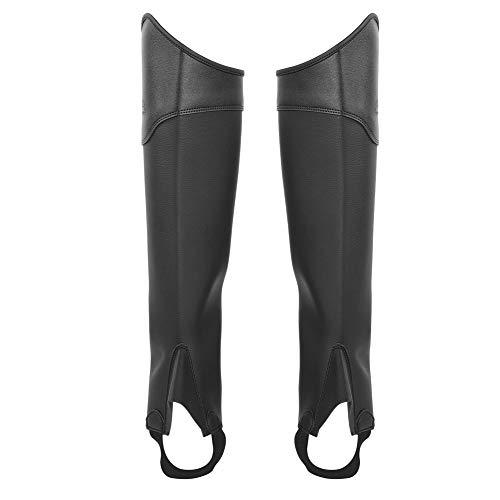 AYNEFY Chips ecuestres, 1 par de Cuero de la PU Chaps para Montar a Caballo Montar a Caballo Protector para Las piernas Calzas de equitación para niños Adultos Montar (2 Colores 3 tamaños)(L-Negro)