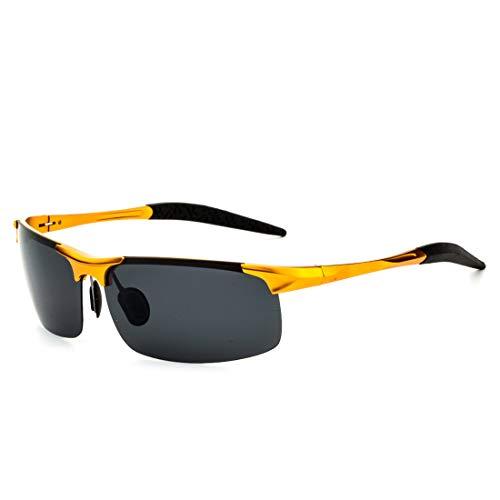 Honneury Herren polarisierte Ultralight Alloy Square kreative SonnenbrilleUV Schutz Sonnenbrillen (Farbe : Gold Frame/Black Lens)