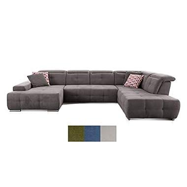 CAVADORE Wohnlandschaft Mistrel mit Ottomanen rechts / XXL-Sofa in U-Form / Inkl. Kopfteilverstellung / Couch mit aufwendiger Steppung / 343 x 77-93 x 228 / Curry (gelb)