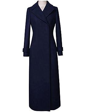 Donne Provato Cappotto Le signore Buio Blu Lana Caldo Sottile Giacche Lungo Cappotti Superiore 80Store