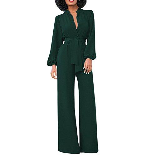 semen Damen Jumpsuit Business Langarm Suit Schlank High Waist Festlich Tief V-Ausschnitt Anzug Abendmode Partywear