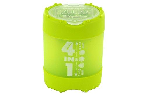 KUM AZ102.83.19-G Behälterspitzer 4in1 K4 G aus Kunststoff, Click Clack Staubverschluss, 1 Stück, grün