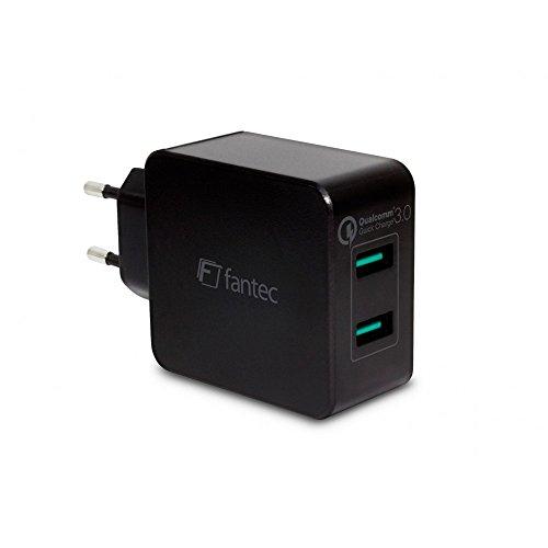 FANTEC QC3-A22 Quick Charge 3.0 Ladegerät und 2X USB Anschlüssen mit 36W Schwarz