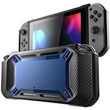 Mumba Nintendo Switch Hülle, [Rugged] Gummiert Case Harte Schutzhülle Schwerlast Cover für Nintendo Switch 2017 Ausgabe (Schwarz+Blau) -