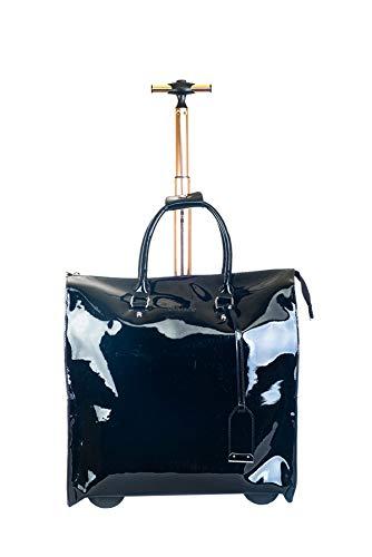 Aktenkoffer Mit Rädern Laptop-taschen (Damen Trolley-Tasche-Aktentrolley-Aktentasche-Aktenkoffer-Glänzend Schwarz-Bowatex)