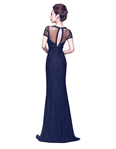 Beauty-Emily V-Ausschnitt Bodycon Open-Side-Spitze sehen durch Partei-Kleid Königsblau