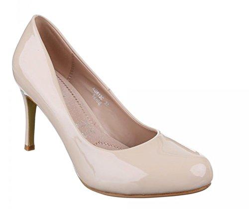 Klassische Damen Lack Pumps Glänzend Stilettos Abend Schuhe Party Hochzeit XQ (39, Beige)