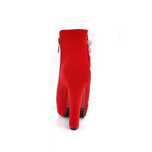 Vermelho Nubuck De Mulheres Com Voguezone009 top Strass Botas Cravejado Baixo Incrustada ZSpRxqFw