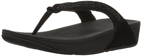 FitFlop Crystal Swirl Daim Tongs All Black
