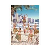 "Bikini everyday cards 5""x7"" Happy Birthday Hula Girls on Beach - Greeting Card"