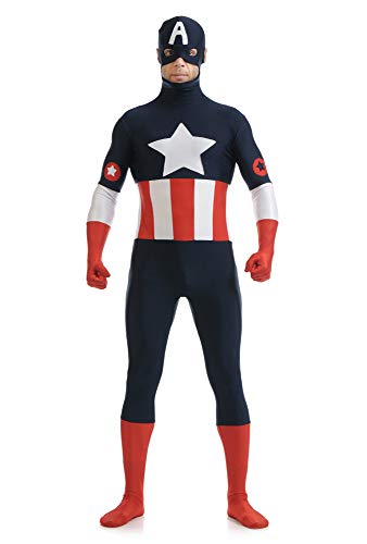 Captain America Kostüm Herren Avengers Kind Superhelden Kostüme Erwachsene Verkleidung Kinder,Halloween Karneval Party Kostüm,Cosplay Kostüm,Child-XL
