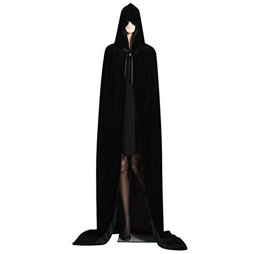 Mantello di velluto dorato mantello di halloween mago mantello della strega 110-170 cm con 8 colori - costumi di halloween size m-130cm (black#2)