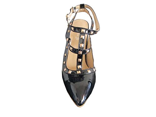 2014 neue Sommer-Mode-Weinlese-Nieten-Frauen-Absatz Spitze Schuhe Sexy Süßigkeit-Farben-Damen weiblich Partei Pumpen alle schwarz