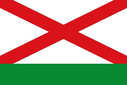 magFlags Bandera XL Rectangular de proporciones 2 3, formada por dos franjas horizontales en proporciones 3/4 y 1/4, siendo blanca con aspa roja completa la superior y verde la inferior | bandera p