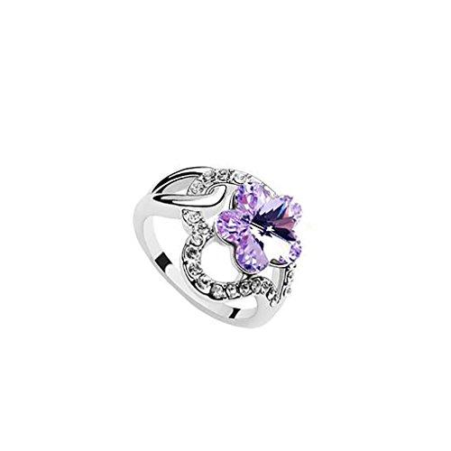 LUFA Pour les femmes et les dames Cristal Prune fleur Bague en alliage Romantique Accessoires Bijoux Glitter Violet&1.6cm