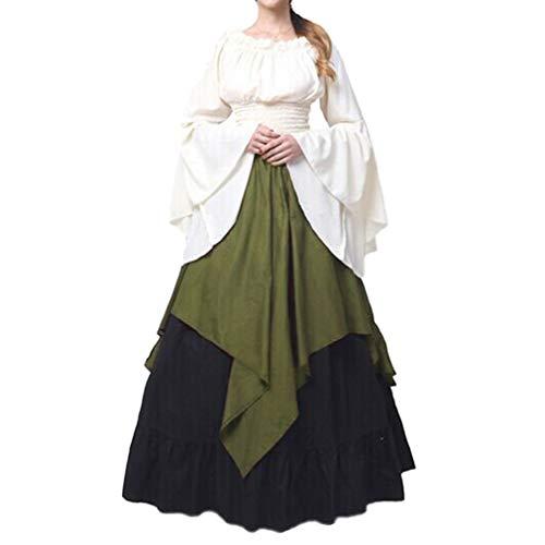 Mangas Largas Vestido Medieval de Mujer, Retro Renacentista Estilo Victoriano Vestido Largo con Cordon Vestidos Disfraz para Halloween Party Cosplay