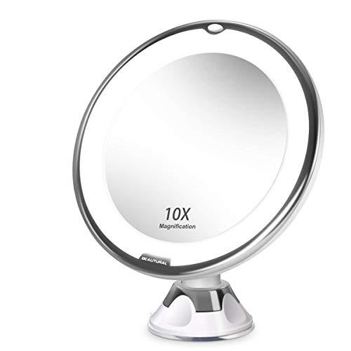 Beautural LED Beleuchtet Kompaktspiegel 10-Fach Vergrößerung Schminkspiegel mit 360 ° schwenkbare Drehkugel und integriertem Saugnapf Rasierspiegel