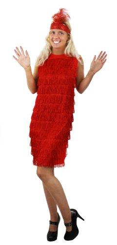 Charleston,Flapper, Kostüm, Kleid für Damen in Rot kommt mit dazugehörigen farblich passenden Stirnband mit Feder.Das Kleid hat Fransen auf der vorderseite Charleston,in der Grösse MEDIUM (Der Große Gatsby Kleider)