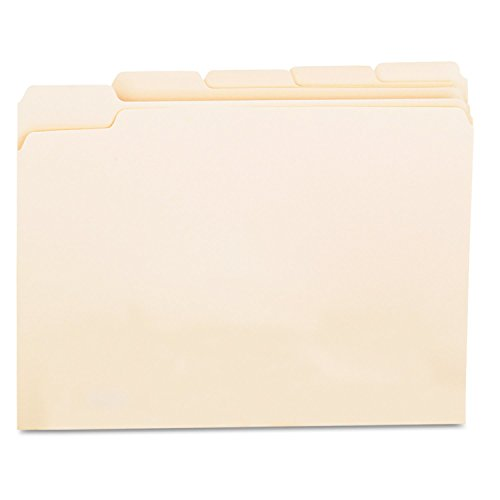 File Folders, 1/5 Cut Assorted, One-Ply Top Tab, Letter, Manila, 100/Box, Sold as 1 Box