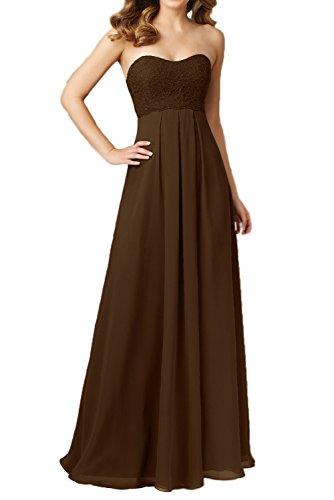 Gorgeous Modisch Elegant Traegerlos Empire Chiffon Spitze Abendkleid Lang Festkleid Ballkleid Schokolade