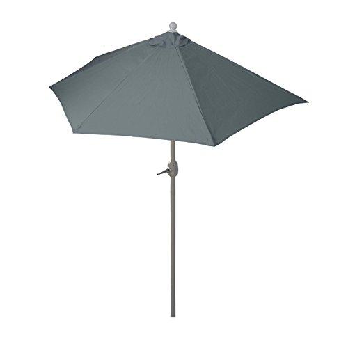 Mendler Parasol Parla en alu, hémicycle, Parasol de Balcon UV 50+ ~ 300cm Anthracite sans Pied