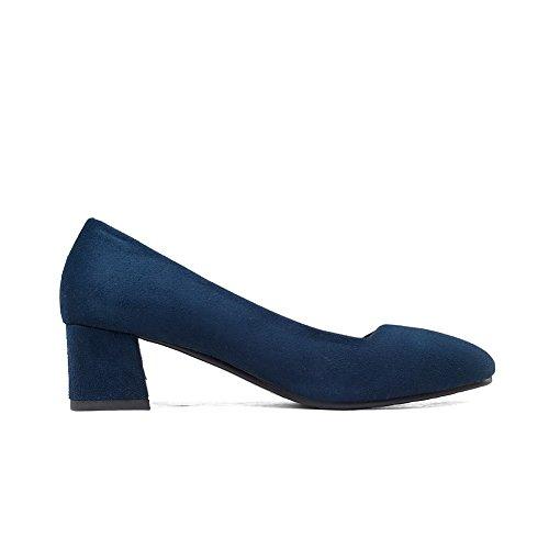 VogueZone009 Donna Pelle Di Mucca Tirare Punta Quedrata Tacco Medio Puro Ballet-Flats Azzurro