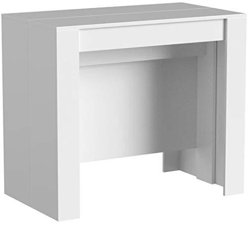 Tavolo Consolle Allungabile Clarissa, Design Moderno Elegante, Tavolo per Casa Ufficio, Tavolo 10 Posti Salvaspazio Multiposizione, Allungabile Fino A 2.37 Metri 78 x 51 x 90 cm, Bianco Lucido
