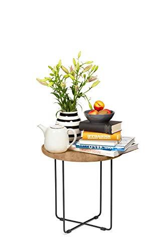 KAUTSCH Beistelltisch mit Funktion für Sofa - aus Metall und Eiche massiv - runder Couchtisch - schwarzes Drahtgestell - Tablett abnehmbar - Industrial Design